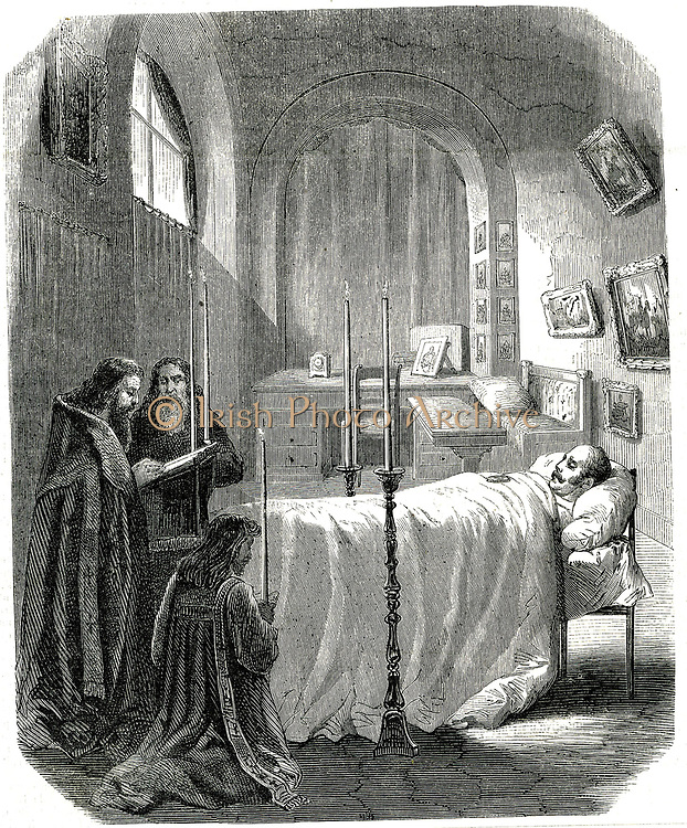 Nicholas I (1796-1855) Emperor (Tsar) of Russia from 1825; Nicholas on his deathbed, priests saying prayers over his body.  His ambition was to absorb Turkey into the Russian empire, an ambition opposed by Britain and France and which resulted in the Crimean (Russo-Turkish) War, 1853-1856.