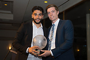 Dundee&rsquo;s Faissal El Bakhtaoui receives the club's goal of the season award from last year's winner Craig Wighton during the DSA player of the year dinner at Invercasrse Hotel, Dundee, Photo by David Young<br /> <br /> <br />  - &copy; David Young - www.davidyoungphoto.co.uk - email: davidyoungphoto@gmail.com