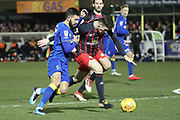 AFC Wimbledon defender George Francomb (7) battles for possession with Blackburn Rovers midfielder Darragh Lenihan (26) during the EFL Sky Bet League 1 match between AFC Wimbledon and Blackburn Rovers at the Cherry Red Records Stadium, Kingston, England on 27 February 2018. Picture by Matthew Redman.
