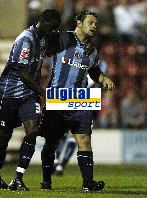 Photo: Jonathan Butler.<br /> Swindon Town v Charlton Athletic. The Carling Cup. 14/08/2007.<br /> Andy Reid of Charlton Athletic is congratulated by team mate Izale McLeod after scoring from the spot.
