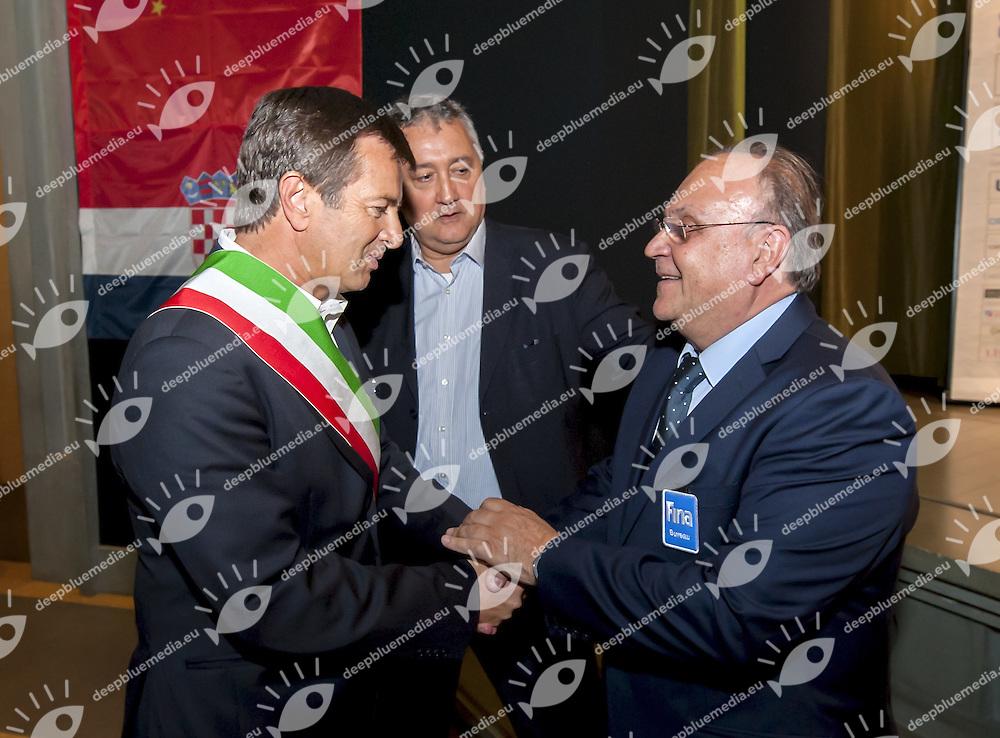 (L to R)Gori, Diathesopoulos<br /> Opening Ceremony<br /> day 00 - 22/06/2015<br /> FINA Water Polo World League Superfinal Men<br /> Bergamo (ITA) 23-28 June 2015<br /> Photo G.Scala/Deepbluemedia