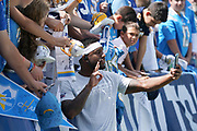 Sep 8, 2019; Carson, CA, USA; Los Angeles Chargers cornerback Casey Hayward (26) poses for a selfie win fans before the game against the Indianapolis Colts at Dignity Health Sports Park.