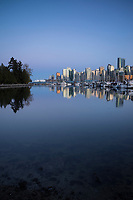 Vancouver Skyline Reflection at Stanley Park, Vancouver, B.C., Canada