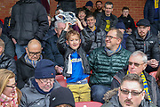 AFC Wimbledon fan with the cup during the The FA Cup 5th round match between AFC Wimbledon and Millwall at the Cherry Red Records Stadium, Kingston, England on 16 February 2019.