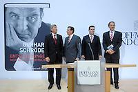 """26 OCT 2006, BERLIN/GERMANY:<br /> Jean-Claude Juncker, Premierminister Luxenburg, Gerhard Schroeder, SPD, Bundeskanzler a.D., Hubertus Heil, SPD Generalsekretaer, und Guenter Berg,  Geschaeftsfuehrer Hofmann und Campe, (v.L.n.R.), zu Beginn einer Pressekonferenz zur Vorstellung seines Buches """"Entscheidungen. Mein Leben in der Politik"""", Willy-Brandt-Haus<br /> IMAGE: 20061026-01-002<br /> KEYWORDS: Gerhard Schröder, Autobiografie, Biografie, Buch, Günter Berg,"""
