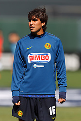 July 16, 2011; San Francisco, CA, USA;  Club America forward Isaac Acuña (16) warms up before the game against Manchester City at AT&T Park. Manchester City defeated Club America 2-0.