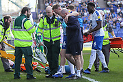 Tranmere Rovers Mark Ellis(16) goes off injured during the EFL Sky Bet League 2 match between Tranmere Rovers and Forest Green Rovers at Prenton Park, Birkenhead, England on 19 April 2019.