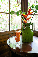 A tropical drink awaits a guest in a casita at Latitude 10 Resort, Santa Teresa, Costa Rica.