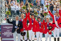 Team Germany, Ahlmann Christian, GER, Ehning Marcus, GER, Deusser Daniel, GER, Blum Simone, GER<br /> European Championship Jumping<br /> Rotterdam 2019<br /> © Hippo Foto - Stefan Lafrentz