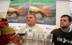 Martin Strel and his son Borut Strel at arrival from South America - Peru, where Martin Strel set a world record by swimming 5268 Kms (3274 Miles) down the Amazon river, on May 11, 2007 in Brnik Airport, Slovenia. (Photo by Vid Ponikvar / Sportida)..Slovenski vzdrzljivostni plavalec Martin Strel se je mesec dni po tem, ko je premagal reko Amazonko in se s 5286 preplavanimi kilometri znova zapisal v Guinnessovo knjigo rekordov, se je danes vrnil v domovino. Ob prihodu na brnisko letalisce je poudaril, da je bil podvig zelo tezak in je pri njem tvegal svoje zivljenje. Hkrati pa je bil projekt Amazonka 2007 za Strela tudi zelo uspesen, saj je dozivel precejsnjo medijsko odmevnost v Ameriki.