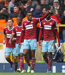 West Ham's Diafra Sakho celebrates scoring a goal - Photo mandatory by-line: Mitchell Gunn/JMP - Mobile: 07966 386802 - 22/02/2015 - SPORT - football - London - White Hart Lane - Tottenham Hotspur v West Ham United - Barclays Premier League