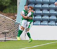 27th August 2017, Dens Park, Dundee, Dundee; Scottish Premier League football, Dundee versus Hibernian; Hibernian's Anthony Stokes celebrates after scoring with Simon Murray