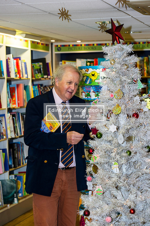 """Pictured: Alexander McCall Smith<br /> <br /> Today,  author Alexander McCall Smith joined customers at Blackwell's Bookshop in Edinburgh as they highlighted a scheme  which children involved with local charities hang """"book wishes"""" and customers have the option to buy the book for the child who has requested it.<br /> <br /> Ger Harley   EEm 7 December 2016"""