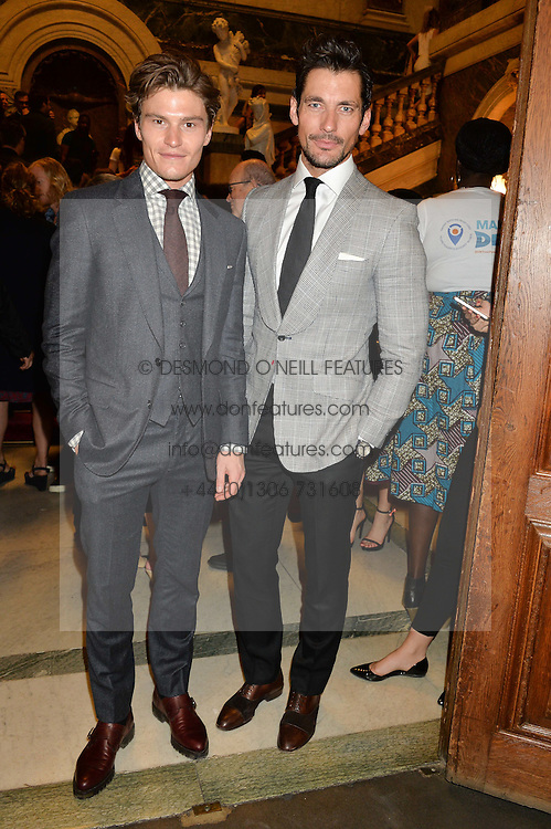 Left to right, OLIVER CHESHIRE and DAVID GANDY at the LDNY Fashion Show and WIE Award Gala sponsored by Maserati held at The Goldsmith's Hall, Foster Lane, City of London on 27th April 2015.