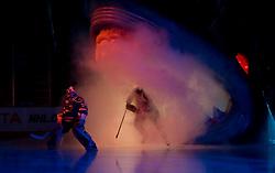 December 30, 2009; San Jose, CA, USA; San Jose Sharks goalie Evgeni Nabokov (20) and center Joe Thornton (19) enter the ice before the game against the Washington Capitals at HP Pavilion. San Jose defeated Washington 5-2. Mandatory Credit: Jason O. Watson / US PRESSWIRE