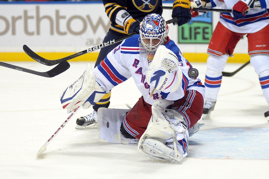 New York Rangers goalie Martin Biron (43) just misses the puck during a second period shot by the Buffalo Sabres at the First Niagara Center in Buffalo, NY.  The New York Rangers lead the Buffalo Sabres 2-1 at the end of the second period.