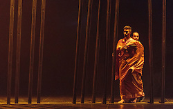 © Licensed to London News Pictures. 16/09/2015. London, UK. L-R: Sooraj Subramaniam and Shailesh Bahoran. Dress rehearsal for the World Premiere of Shobana Jayasingh's new work Material Men performed by bharathanatyam soloist Sooraj Subramaniam and hip hop dancer Shailesh Bahoran at Queen Elizabeth Hall, Southbank Centre. Material Men premieres in a double bill with 2013 commission Strange Blooms on 16 September 2015 and then tours to Cheltenham, Brighton, Swansea and Aberystwyth. Photo credit: Bettina Strenske/LNP