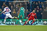 Queens Park Rangers forward Nahki Wells (32) shoots at goal and puts it wide during The FA Cup 5th round match between Queens Park Rangers and Watford at the Loftus Road Stadium, London, England on 15 February 2019.