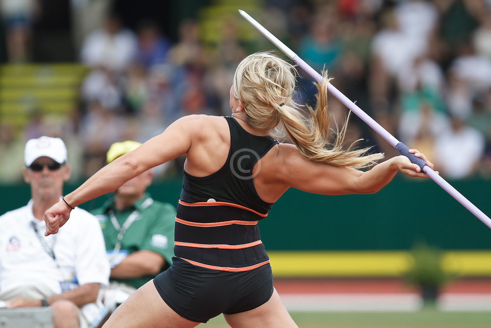 Olympic Trials Eugene 2012: women's Javelin, Brittany Borman, huge throw