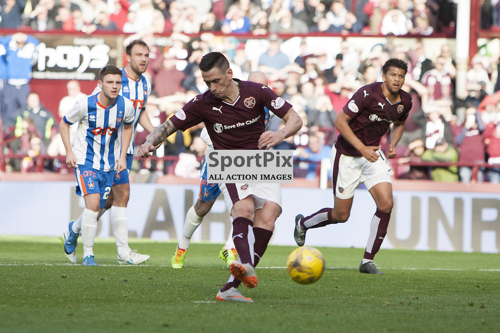 Jamie Walker of Hearts scores from the penalty spot to make it 1-0 during the Ladbrokes Scottish Premiership match between Heart of Midlothian FC and Kilmarnock FC at Tynecastle Stadium on October 4, 2015 in Edinburgh, Scotland. Photo by Jonathan Faulds/SportPix