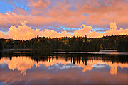 Morning clouds reflected in Crozier Lake in Algoma District<br /> North of Lake Superior Provincial Park<br /> Ontario<br /> Canada