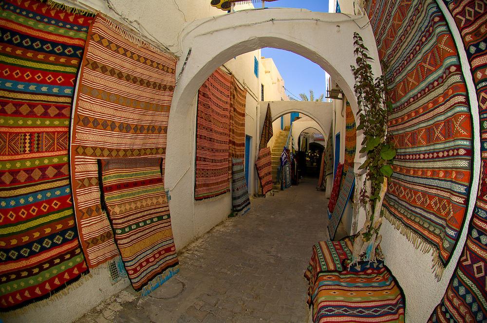Rugs in market, Djerba Island, Tunisia