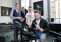Olly Murs meets patients for the Teenage Cancer Trust in a music workshop at the Royal Albert Hall, London.