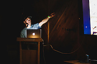 Andy Anderson presents at the evening slide show at the Salt Lake CLimbing Festival, 2016.