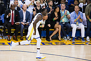 Golden State Warriors forward Draymond Green (23) celebrates a dunk against the Houston Rockets at Oracle Arena in Oakland, Calif., on October 17, 2017. (Stan Olszewski/Special to S.F. Examiner)