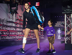 October 21, 2018 - Kallang, SINGAPORE - Karolina Pliskova of the Czech Republic on her way to the court for her first match at the 2018 WTA Finals tennis tournament (Credit Image: © AFP7 via ZUMA Wire)
