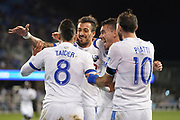 March 2, 2019; San Jose, CA, USA; Montreal Impact midfielder Saphir Taider (8) is congratulated for scoring a goal against the San Jose Earthquakes during the first half at Avaya Stadium.