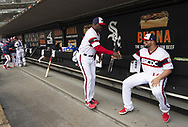 CHICAGO - APRIL 07:  Daryl Boston #8 greets Yonder Alonso #17 of the Chicago White Sox prior to the game against the Seattle Mariners on April 7, 2019 at Guaranteed Rate Field in Chicago, Illinois.  (Photo by Ron Vesely)  Subject:  Yonder Alonso; Daryl Boston