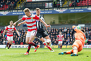 Back heel shot at goal from Doncaster Rovers Midfielder Gary McSheffrey (7) during the EFL Sky Bet League 2 match between Grimsby Town FC and Doncaster Rovers at Blundell Park, Grimsby, United Kingdom on 1 April 2017. Photo by Craig Zadoroznyj.
