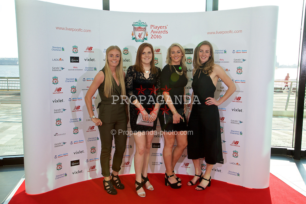 LIVERPOOL, ENGLAND - Thursday, May 12, 2016: Liverpool Ladies' Sophie Ingle, Danielle Gibbons, Gemma Bonner, and Siobhan Chamberlain arrive on the red carpet for the Liverpool FC Players' Awards Dinner 2016 at the Liverpool Arena. (Pic by David Rawcliffe/Propaganda)