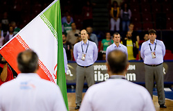 Brasil's flag during national anthem during  the Preliminary Round - Group B basketball match between National teams of Slovenia and Iran at 2010 FIBA World Championships on September 2, 2010 at Abdi Ipekci Arena in Istanbul, Turkey. (Photo By Vid Ponikvar / Sportida.com)