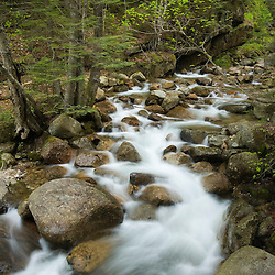 Spring on the Pemigewasset River near the Flume Gorge in Franconia Notch State Park in New Hampshire's White Mountains.