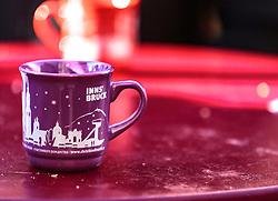 THEMENBILD - eine Glühweintasse auf dem Christkindlmarkt in der Altstadt, aufgenommen am 02. Dezember 2017, Innsbruck, Österreich // a mulled wine cup on the Christkindlmarkt in the old town on 2017/12/02, Innsbruck, Austria. EXPA Pictures © 2017, PhotoCredit: EXPA/ Stefanie Oberhauser