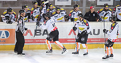 11.10.2015, Tiroler Wasserkraft Arena, Innsbruck, AUT, EBEL, HC TWK Innsbruck die Haie vs Dornbirner Eishockey Club, 10. Runde, im Bild Torjubel Dornbirner Eishockey Club nach dem Tor zum  1:2 durch Christopher D'Alvise (Dornbirner Eishockey Club) // during the Erste Bank Icehockey League 10th round match between HC TWK Innsbruck  die Haie and Dornbirner Eishockey Club at the Tiroler Wasserkraft Arena in Innsbruck, Austria on 2015/10/11, EXPA Pictures © 2015, PhotoCredit: EXPA/ Jakob Gruber