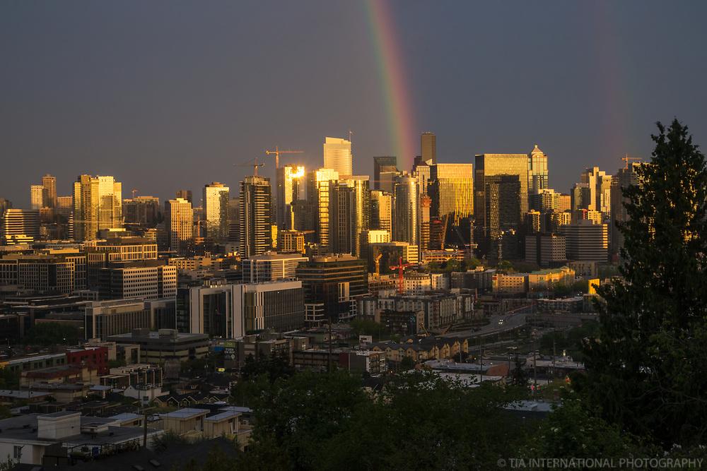 Seattle Skyline, Sunset & Rainbow