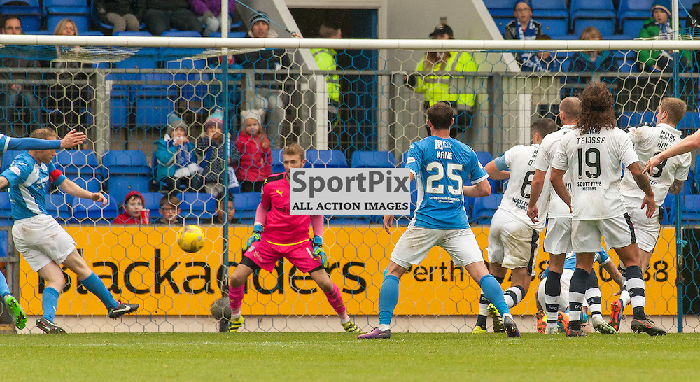 #6 Steven Anderson (St Johnstone) arrives at the back post to fire in the opening goal - St Johnstone v Dundee - Ladbrokes Premiership - 23 October 2016 - © Russel Hutcheson | SportPix.org.uk