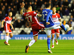 Muhamed Besic of Middlesbrough competes with Carl Jenkinson of Birmingham City - Mandatory by-line: Nizaam Jones/JMP - 06/03/2018 - FOOTBALL - St Andrew's Stadium - Birmingham, England - Birmingham City v Middlesbrough - Sky Bet Championship