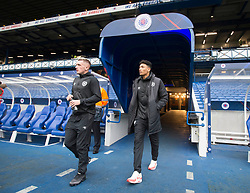 Hearts players Callumn (left) Morrison and Sean Clare before the Ladbrokes Scottish Premiership match at Ibrox Stadium, Glasgow.