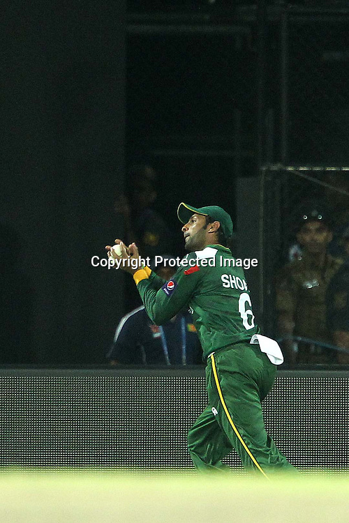 Shaib Malik takes the catch to dismiss Kumar Sangakkara during the ICC World Twenty20 semi final match between Sri Lanka and Pakistan held at the Premadasa Stadium in Colombo, Sri Lanka on the 4th October 2012<br /> <br /> Photo by Ron Gaunt/SPORTZPICS