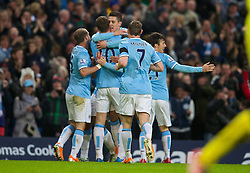 15.02.2014, Etihad Stadion, Manchester, ESP, FA Cup, Manchester City vs FC Chelsea, Achtelfinale, im Bild Manchester City's Stevan Jovetic celebrates scoring the first goal against Chelsea // during the English FA Cup Round of last 16 Match between Manchester City and FC Chelsea at the Etihad Stadion in Manchester, Great Britain on 2014/02/15. EXPA Pictures © 2014, PhotoCredit: EXPA/ Propagandaphoto/ David Rawcliffe<br /> <br /> *****ATTENTION - OUT of ENG, GBR*****