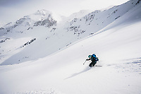Sonya Pevzner skiing in the San Juan Mountains, Colorado.