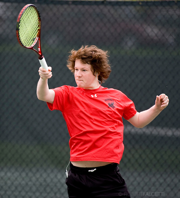 The Pomfret School, Pomfret, CT. 2010-2011. Boys Varsity Tennis.  (Photo by Robert Falcetti). .