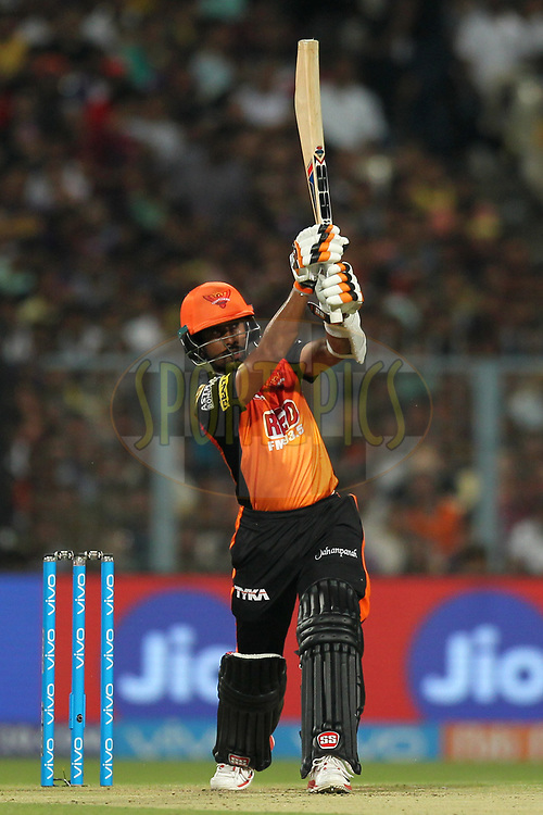 Wriddhiman  Saha of the Sunrisers Hyderabad bats during match ten of the Vivo Indian Premier League 2018 (IPL 2018) between the Kolkata Knight Riders and the Sunrisers Hyderabad held at the Eden Gardens Cricket Stadium in Kolkata on the 14th April 2018.<br /> <br /> Photo by: Deepak Malik / IPL/ SPORTZPICS