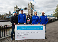 Vivian Cheruiyot KEN winner of the Virgin Money London Marathon with representatives of Abbott at a photocall and press conference at the Guoman Tower Hotel for the winners of the Virgin Money London Marathon, 23 April 2018.<br /> <br /> Photo: Thomas Lovelock for Virgin Money London Marathon<br /> <br /> For further information: media@londonmarathonevents.co.uk