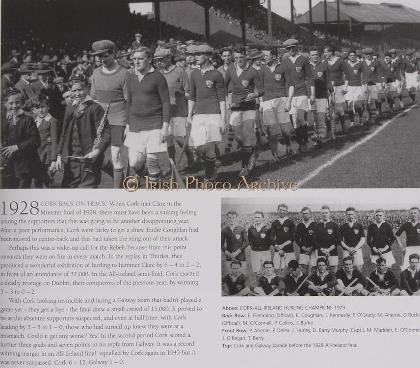 Top: Cork and Galway parade before the 1928 All-Ireland final. .Right: Cork-All-Ireland Hurling Champions 1929. Back Row: E Flemming (Official), E Coughlan, J Kenneally, P O'Grady, M Aherne, D Buckley ( Official), M O'Connell, P Collins, J Burke. Front Row: P Aherne, P Delea, J Hurley, D Barry Murphy (capt), M Madden, E O'Connell, J O'Regan, T Barry.