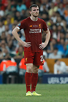 ISTANBUL, TURKEY - AUGUST 14: Andrew Robertson of Liverpool looks on during the UEFA Super Cup match between Liverpool and Chelsea at Vodafone Park on August 14, 2019 in Istanbul, Turkey. (Photo by MB Media/Getty Images)